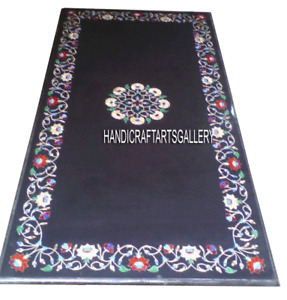 Black Marble Dining Top Side Table Carnelian Inlay Floral Art Home Decors H2912