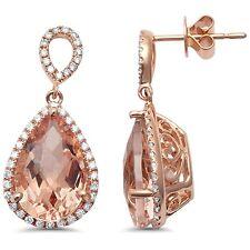 7.71cts Pear Morganite Gemstone & Diamond 14k Rose Gold Earrings