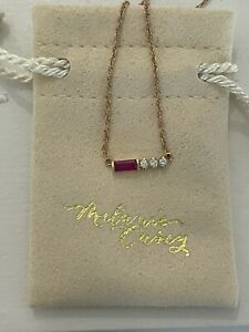 New MELANIE CASEY 14k Rose Gold RUBY & DIAMONDS Necklace