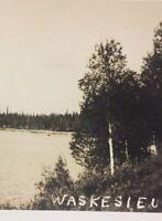 Postcard, Waskesieu Lake RPPC Photograph Canada Vintage P53