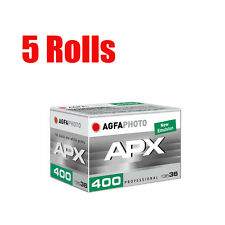 5 Rolls Agfa APX400 AgfaPhoto 35mm 135-36exp B&W Professional Film Dated 2020