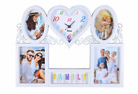 Heart Shape Wall Clock, 5 Multi Photo Picture Frame Wall Hanging  - White