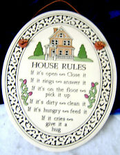 Pottery Wall Plaque - House Rules / Made in the Trinity Pottery Style