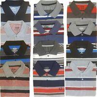 Mens Striped Polo Shirt Pique Short Sleeve Collared Tee Top T Shirt S M L XL XXL
