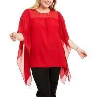 MICHAEL Michael Kors Womens Red Sheer Cascade Top Blouse Plus 0X BHFO 8236