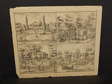 Ilinois Cass County Map Residence of S. Emmons 1874 !J14#98