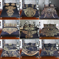 3pcs Bohemian Tribal Bedding Set Ethnic Boho Feather Duvet Quilt Doona Cover Set