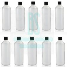 NEW 10 x 1 L, LTR, LITRE, PLASTIC HDPE BOTTLE WITH CAPS