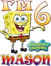 PERSONALIZED Sponge Bob SquarePants BIRTHDAY SHIRT ADD NAME & AGE FOR FAMILY