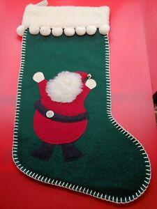** WOOF POOF JOLLY SANTA CHRISTMAS WOOL GREEN STOCKING  **