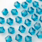 50pcs 6mm Bicone Faceted Crystal Glass Charms Loose Spacer Beads Peacock Blue