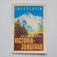 Vintage Interlaken Grand Hotel Victoria-Jungfrau Swiss Luggage Label [1.75x2.5]