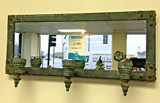 Rustic Metal Wall Mirror With Tea Candle Holders