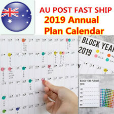 HOT 2019 Annual Schedule Calendar Yearly Decor Wall Planner With Sticker Dot AU
