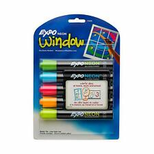 Expo Neon Dry Erase Markers Bullet Tip Assorted Colors 5 Count