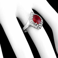 100% NATURAL 9X7MM RUBY BLOOD RED & WHITE CZ STERLING SILVER 925 RING SIZE 7