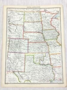1909 Antique Map of Central United States of America Kansas Dakota George Philip