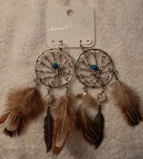 NEW Charming Charlie Dream Catcher-Tree of Life Feather  Turquoise Bead Earrings