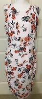 NWT Calvin Klein size 14 pink green beige floral sleeveless dress women's