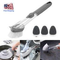 Handle Pot Brush Dish Bowl Washing Cleaning Brushes Soap Dispenser Kitchen Set