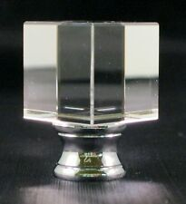 LAMP FINIAL-CUBE CRYSTAL LAMP FINIAL WITH POL. CHROME BASE