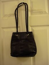 Womens Giani Bernini Black Soft Leather Bucket Style Braided Handle Shoulder Bag