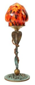 "Unikat Art Deco Sammler Messinglampe ""COLORED COBRA"" Tischleuchte"