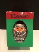 Vintage The Trimmerry Christmas Ornament Blown Glass Santa Claus Head