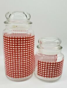 Vtg Anchor Hocking Glass Jars with Lids Red & White Checkered Design Set of 2