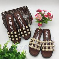 Women Summer Faux Pearl Flip Flops Slippers Flat Sandals Soft Beach Shoes BCO