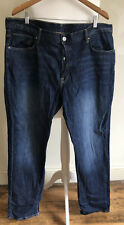 Dark Denim Mens H&M Jeans W42 L34 Button Fly Slim & Denim