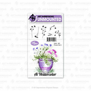 Watercolor Flower Set #3 Cling Rubber Stamp Set Art Impressions 5008 New