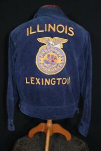 VINTAGE 1990'S LEXINGTON ILLINOIS FFA JACKET BLUE COTTON CORDUROY  SIZE 38