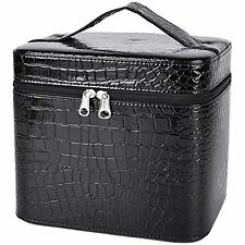 Coofit Beauty Box Crocodile Pattern Leather Makeup Case for Women Large