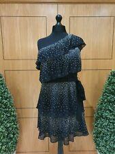 MICHAEL KORS Black Stud Tiered One-shoulder Dress Size UK 12 (RRP £195)