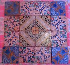 16 riggiole mattonelle maioliche antiche  ottocentesca Sicilia lotto 4