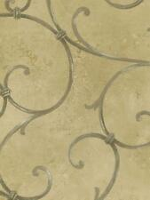 Wallpaper Designer Gold Taupe Gate Scroll on Tan Faux
