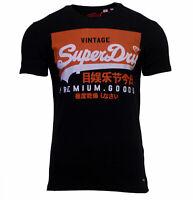 Superdry Mens Vintage Logo Short Sleeve Crew Neck Print Cotton T-Shirt Black