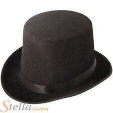Black Velour Felt Top Hat Unisex Victorian Adult Fancy Dress Accessory