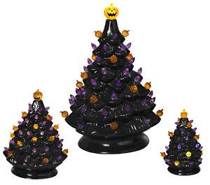 3-Pc Light Up Black Ceramic Dolomite Purple Orange Lights Halloween Tree Set