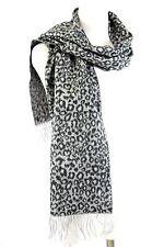 B53 Cashmere Leopard Animal Print Gray & Black Fringe Long Scarf Boutique $110