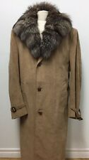 MEN PASTEL FAUX SUEDE FABRIC BELTED COAT SILVER INDIGO FOX FUR COLLAR Sz.XL