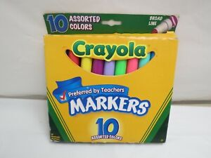 NEW CRAYOLA BROADLINE 10 MULTI COLORED MARKERS CRAFTS SCHOOL COLORING