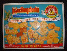 BURMA BISCUIT FACTORY, Antique Advertising Porcelain Enamel Sign, Rangoon, Burma