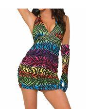 Rainbow Zebra Sexy Womens Adult Disco Diva Costume Halter Dress-Std