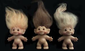 Three Vintage Thomas Dam Troll Dolls (1964) - 2 Marked Dam, 1 Unmarked, w Mohair