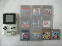 Q156 Nintendo Gameboy Color Console Clear & 10 game Mario Land Japan GBC