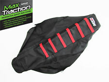 HONDA CRF250X RIBBED GRIPPER SEAT COVER BLACK WITH RED STRIPES RIBS ENDURO