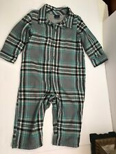 EUC Baby GAP Boy SNOWY FIELDS Chill In Gray & Blue Plaid Lined Romper 12-18 M
