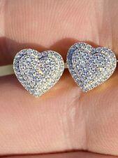 Real 925 Sterling Silver Acabamento De Ouro 14k Brincos Formato Coração Tachas Iced Diamond